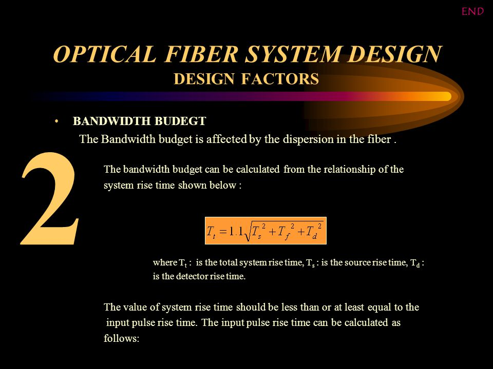 OPTICAL FIBER SYSTEM DESIGN DESIGN FACTORS BANDWIDTH BUDEGT The Bandwidth budget is affected by the dispersion in the fiber.