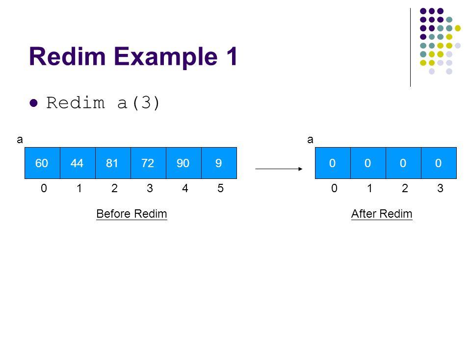 Redim Example 1 Redim a(3) 60 a 0 44 1 81 2 72 3 90 4 9 5 Before Redim 0 a 0 0 1 0 2 0 3 After Redim
