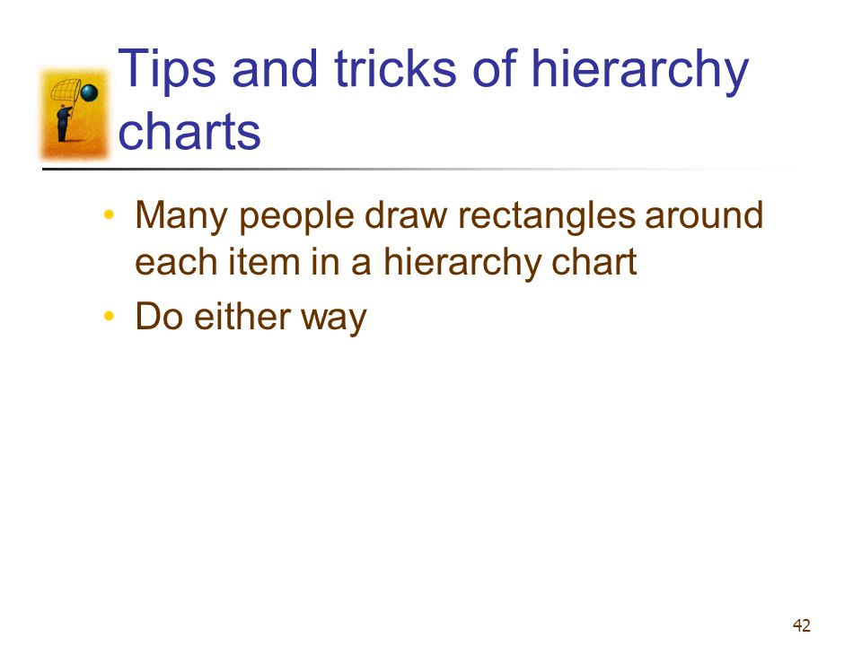 42 Tips and tricks of hierarchy charts Many people draw rectangles around each item in a hierarchy chart Do either way