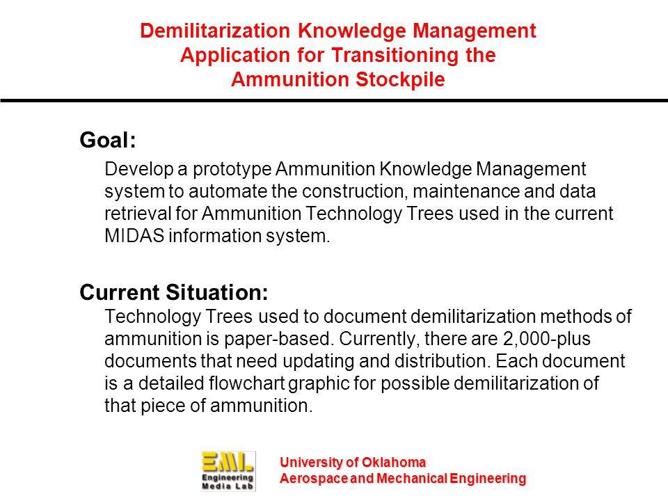University of Oklahoma Aerospace and Mechanical Engineering Goal: Develop a prototype Ammunition Knowledge Management system to automate the construct