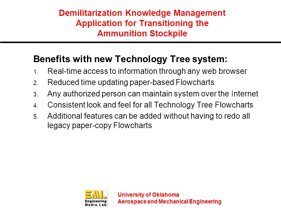 University of Oklahoma Aerospace and Mechanical Engineering Demilitarization Knowledge Management Application for Transitioning the Ammunition Stockpile Benefits with new Technology Tree system: 1.