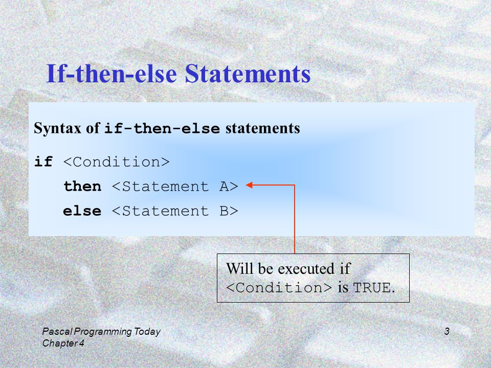 Pascal Programming Today Chapter 4 3 If-then-else Statements Syntax of if-then-else statements if then else Will be executed if is TRUE.