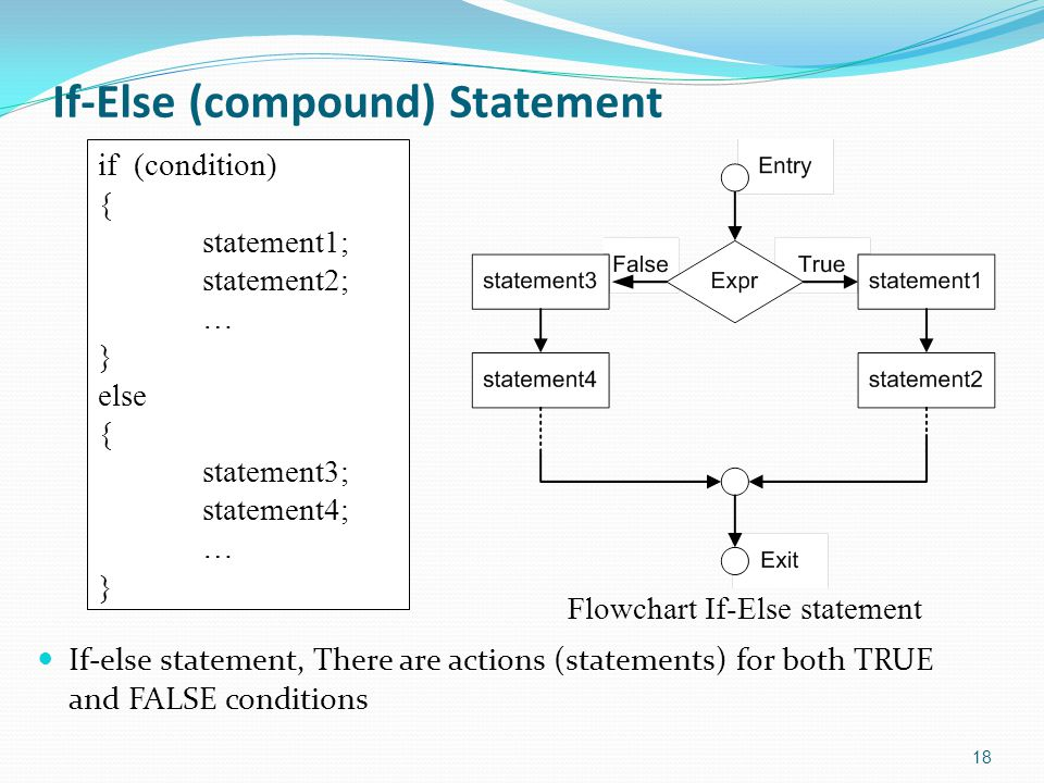 If-Else (compound) Statement If-else statement, There are actions (statements) for both TRUE and FALSE conditions 18 if (condition) { statement1; statement2; … } else { statement3; statement4; … } Flowchart If-Else statement