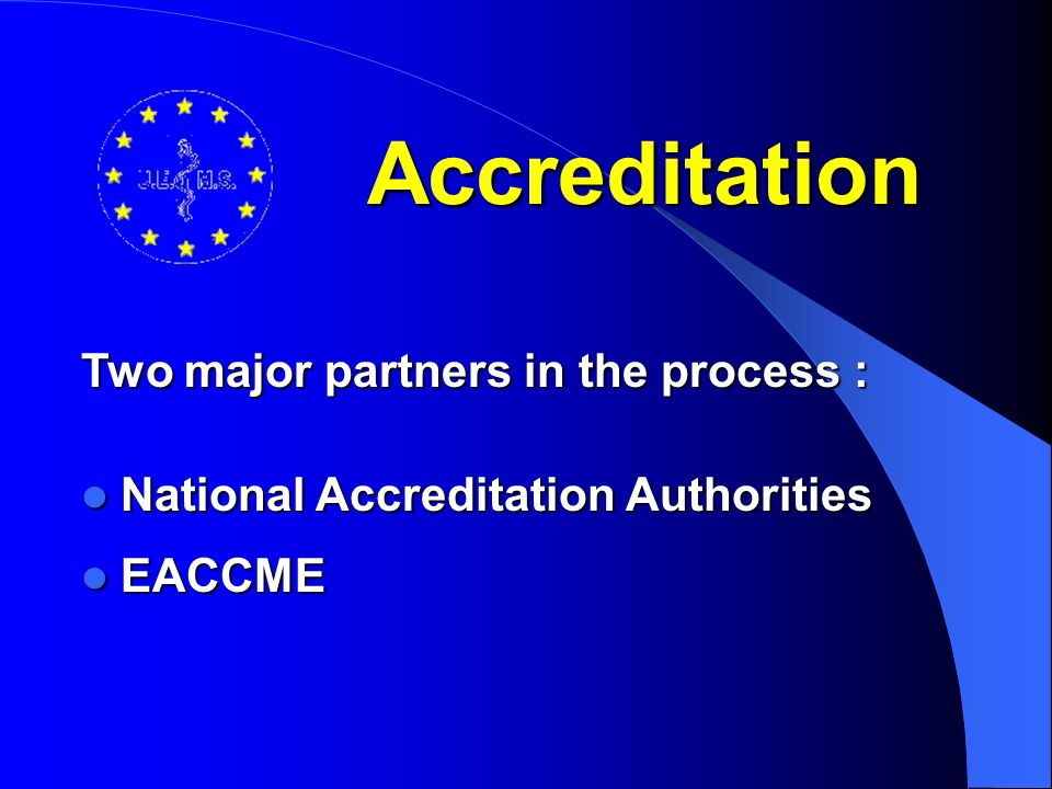 Requirements for European accreditation Quality assessment by independent professional organization, such as European Boards, national and European Societies (guidelines D 9908) Quality assessment by independent professional organization, such as European Boards, national and European Societies (guidelines D 9908) Assessment and approval by the national CME regulating body of the country where the activity takes place Assessment and approval by the national CME regulating body of the country where the activity takes place Guarantee of recognition of EACCME credits Guarantee of recognition of EACCME credits See UEMS Documents D 0134 and D 0140