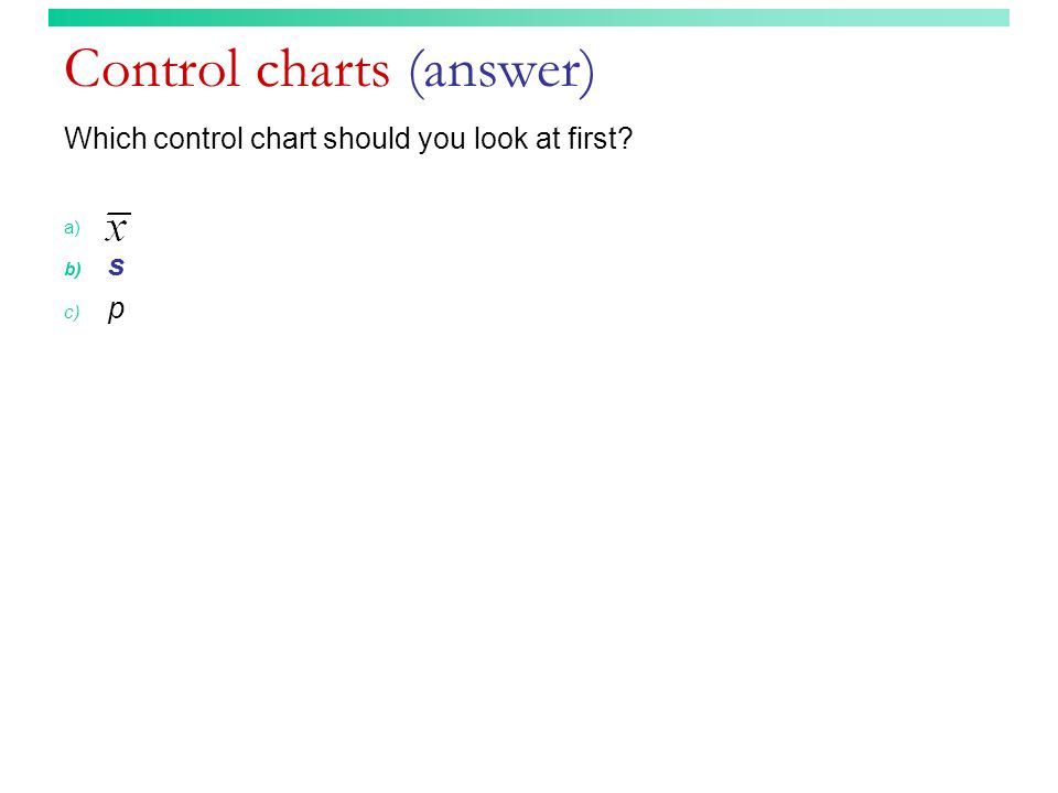 Control charts (answer) Which control chart should you look at first? a) b) s c) p