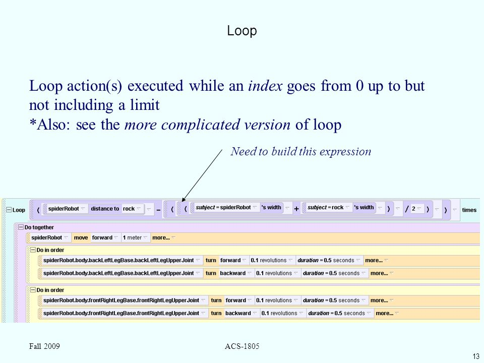 13 Fall 2009ACS-1805 Loop Loop action(s) executed while an index goes from 0 up to but not including a limit *Also: see the more complicated version of loop Need to build this expression