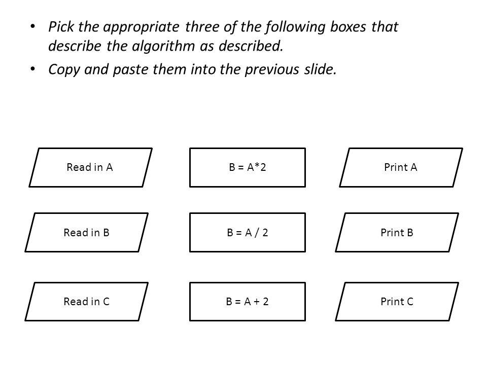 Read in A Read in B B = A*2 B = A / 2Print B Print A Read in CB = A + 2Print C Pick the appropriate three of the following boxes that describe the algorithm as described.
