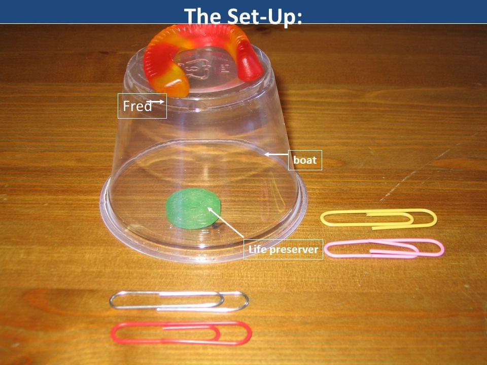 Materials: Gummy Worm…(Fred) Gummy life preserver 1 plastic cup…(boat) 1 Paper Clip per person…(tools)