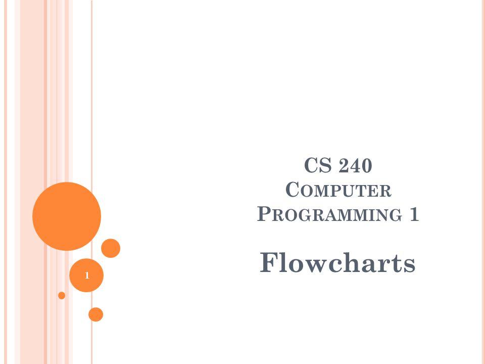 CS 240 C OMPUTER P ROGRAMMING 1 Flowcharts 1