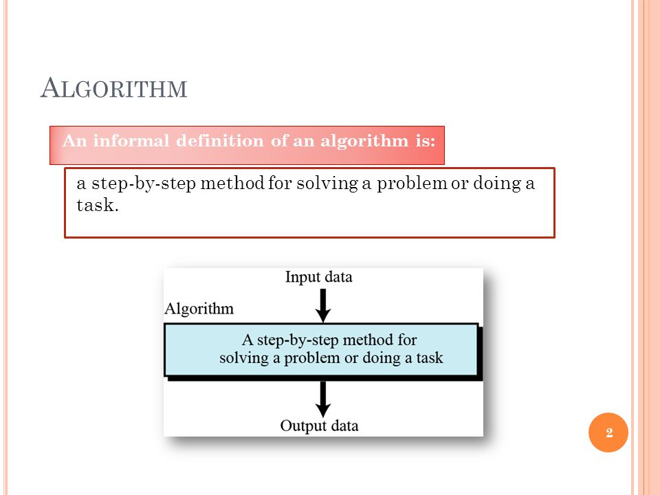 A LGORITHM An informal definition of an algorithm is: 2 a step-by-step method for solving a problem or doing a task.