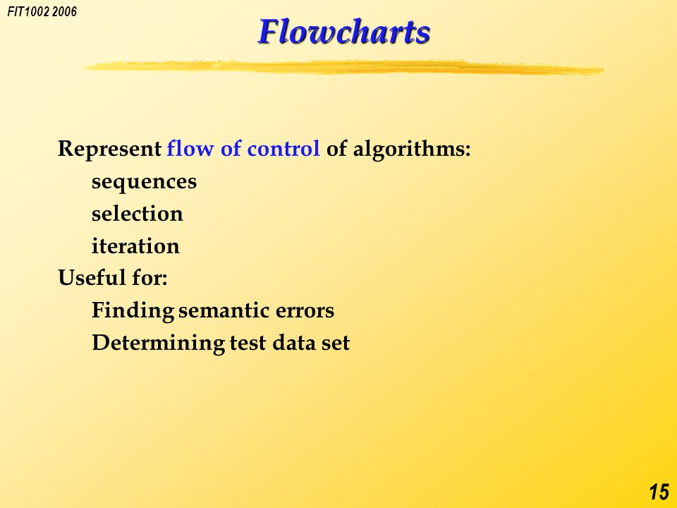 FIT1002 2006 15 Flowcharts Represent flow of control of algorithms: sequences selection iteration Useful for: Finding semantic errors Determining test data set