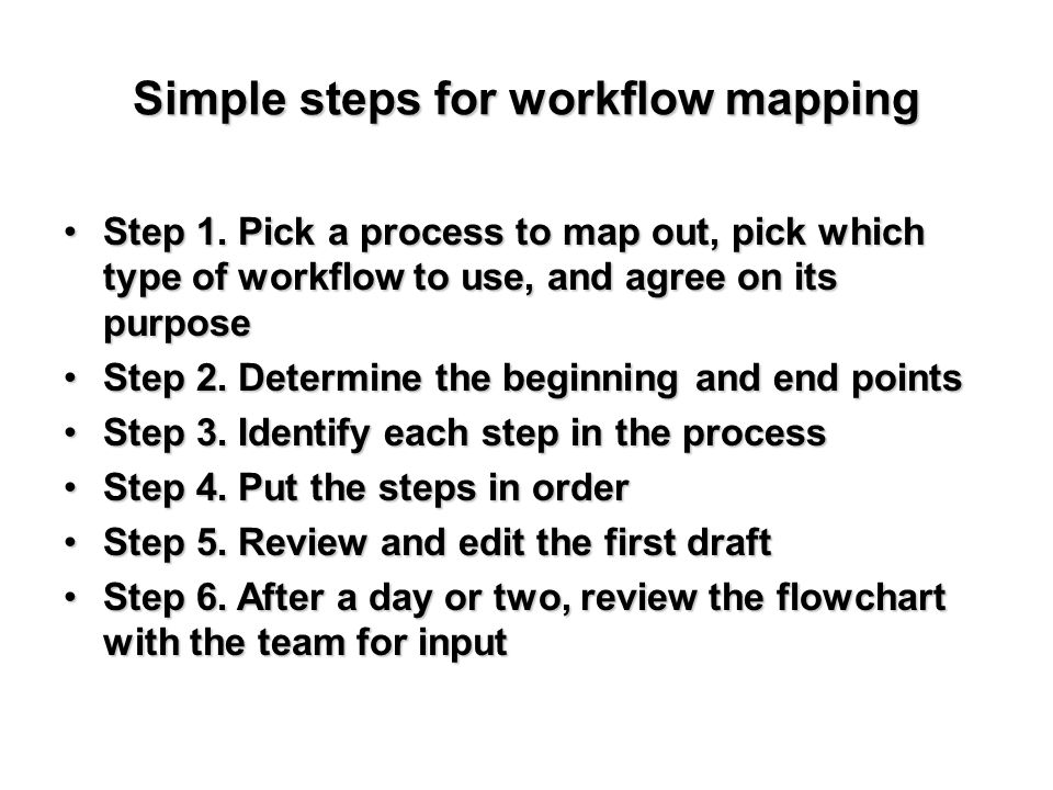 Simple steps for workflow mapping Step 1. Pick a process to map out, pick which type of workflow to use, and agree on its purposeStep 1. Pick a proces