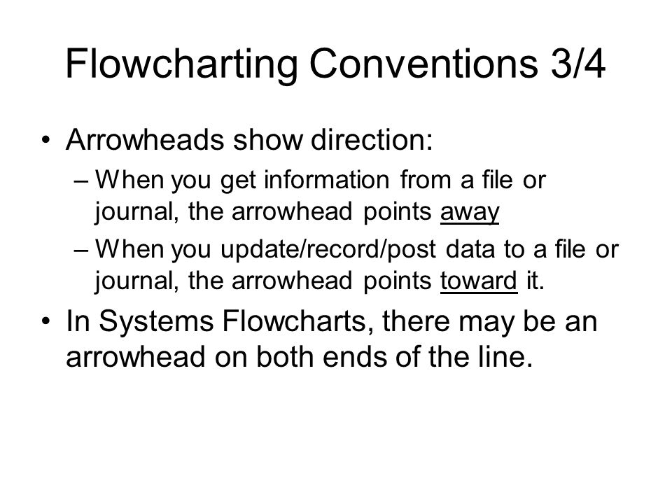 Flowcharting Conventions 4/4 Avoid violating the sandwich rule –Think of a document symbol as a slice of bread and a manual process as baloney.