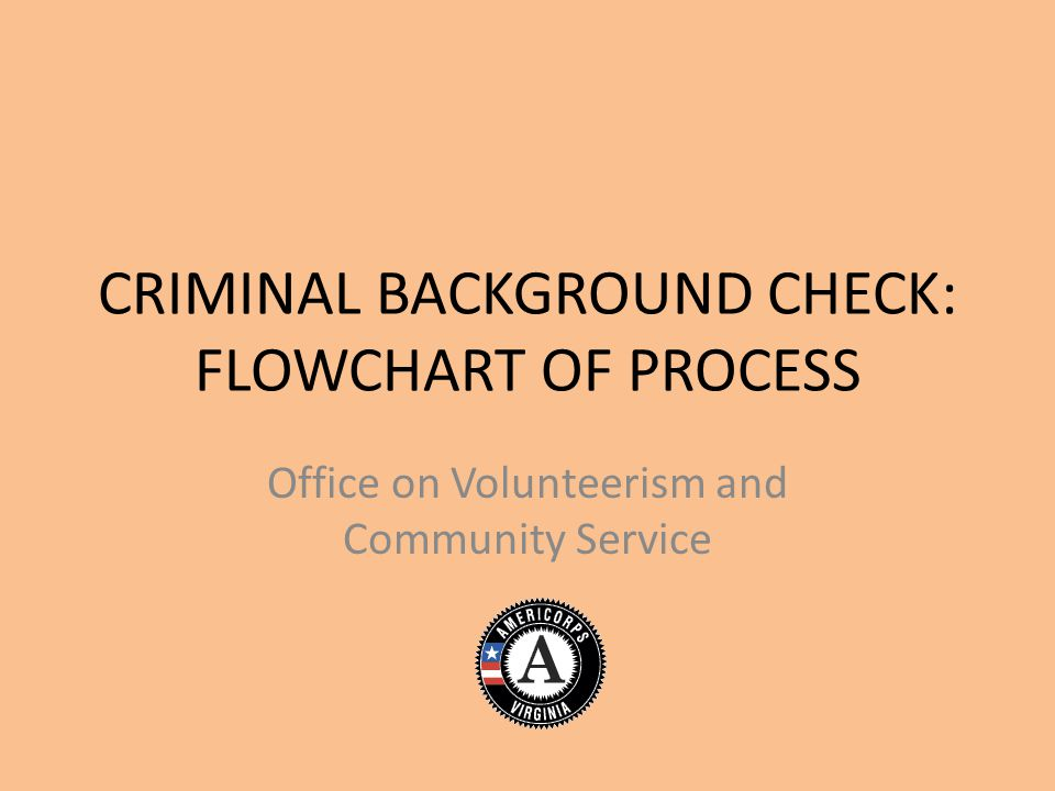 CRIMINAL BACKGROUND CHECK: FLOWCHART OF PROCESS Office on Volunteerism and Community Service