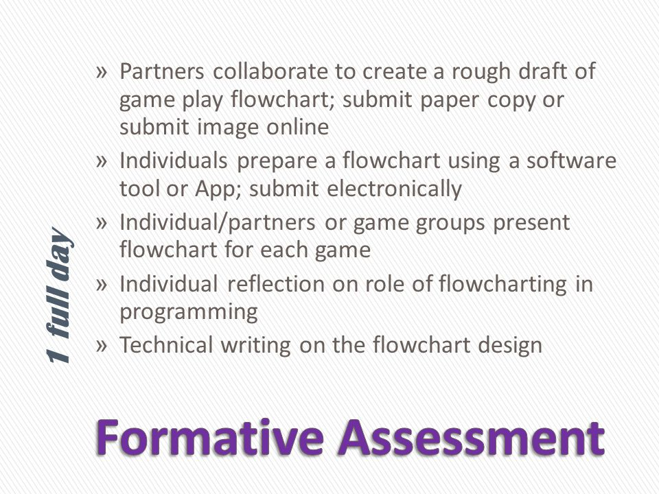 » Partners collaborate to create a rough draft of game play flowchart; submit paper copy or submit image online » Individuals prepare a flowchart using a software tool or App; submit electronically » Individual/partners or game groups present flowchart for each game » Individual reflection on role of flowcharting in programming » Technical writing on the flowchart design 1 full day