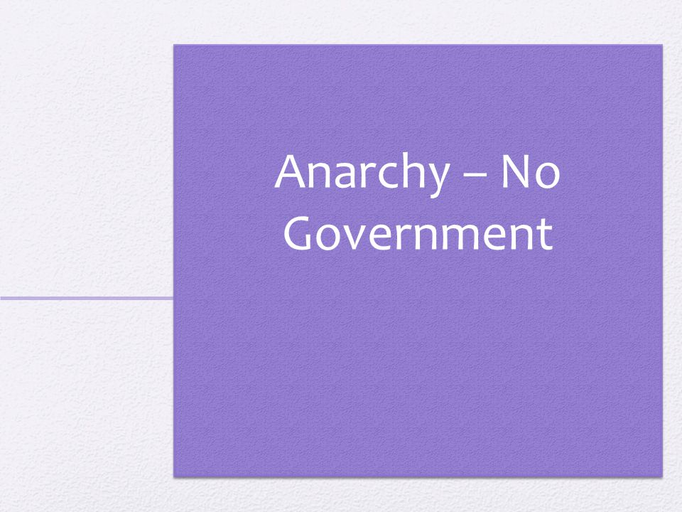 Anarchy – No Government