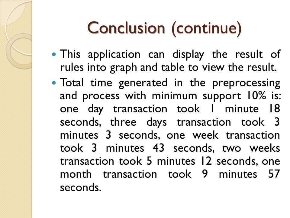 Conclusion (continue) This application can display the result of rules into graph and table to view the result. Total time generated in the preprocess