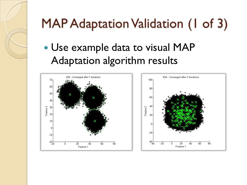 MAP Adaption Algorithm Input: MFCCs of utterance for speaker ( ); Output: Parameters: K = 512 (nComponents); r=16 Step I : Obtain via Steps II and III