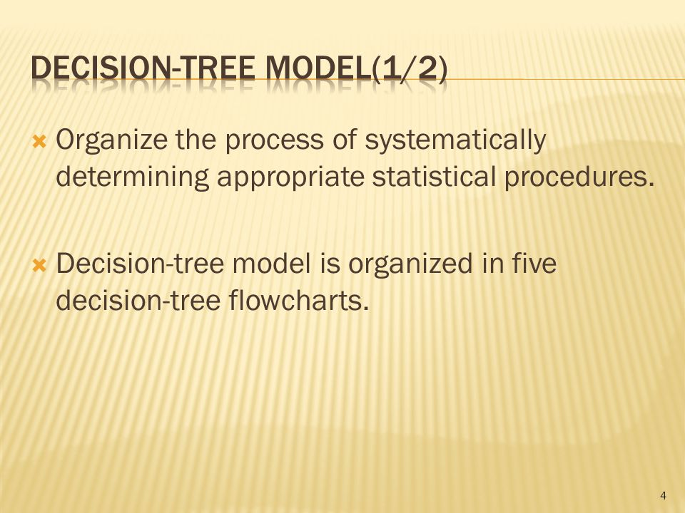  Organize the process of systematically determining appropriate statistical procedures.