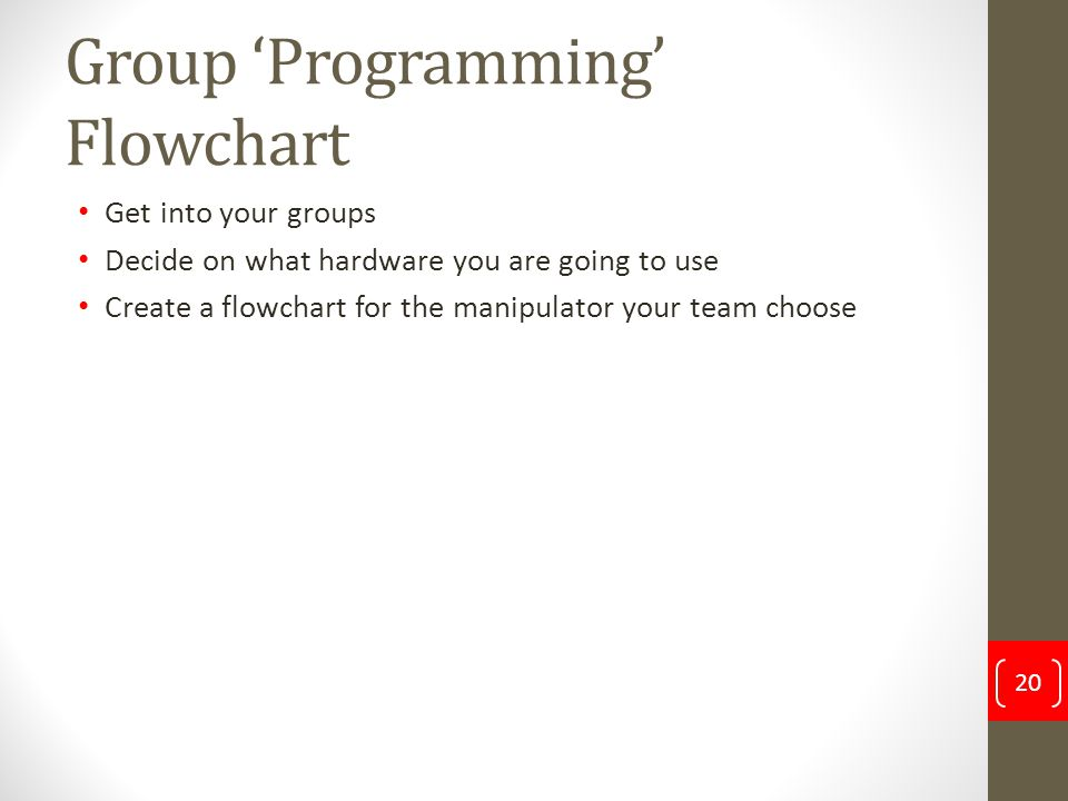 Group 'Programming' Flowchart Get into your groups Decide on what hardware you are going to use Create a flowchart for the manipulator your team choos