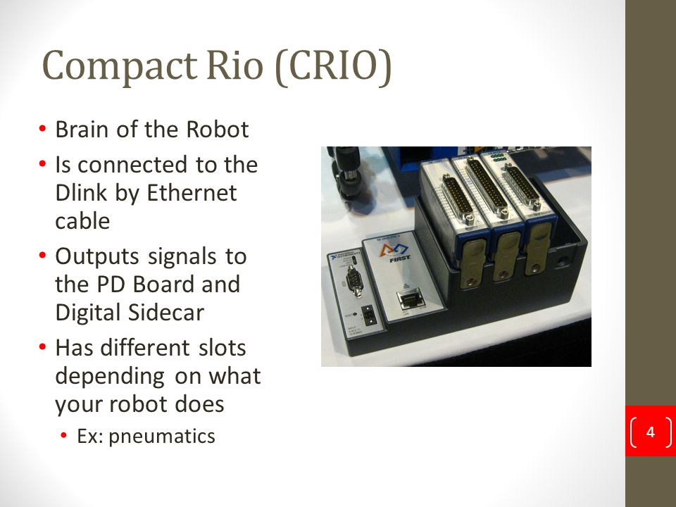 Compact Rio (CRIO) Brain of the Robot Is connected to the Dlink by Ethernet cable Outputs signals to the PD Board and Digital Sidecar Has different sl