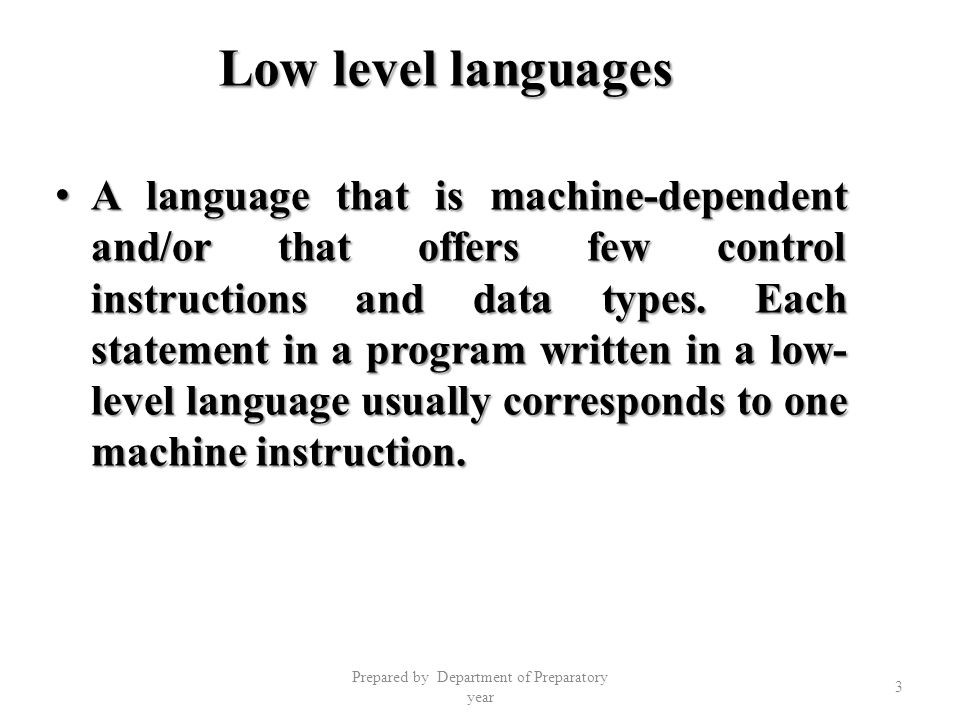 4 Main operation of high level language program Input operations: Input operations: – Like input, read Output operations; Output operations; – Like write, print Arithmetic operations: Arithmetic operations: – Like add, subtract, multiply etc....