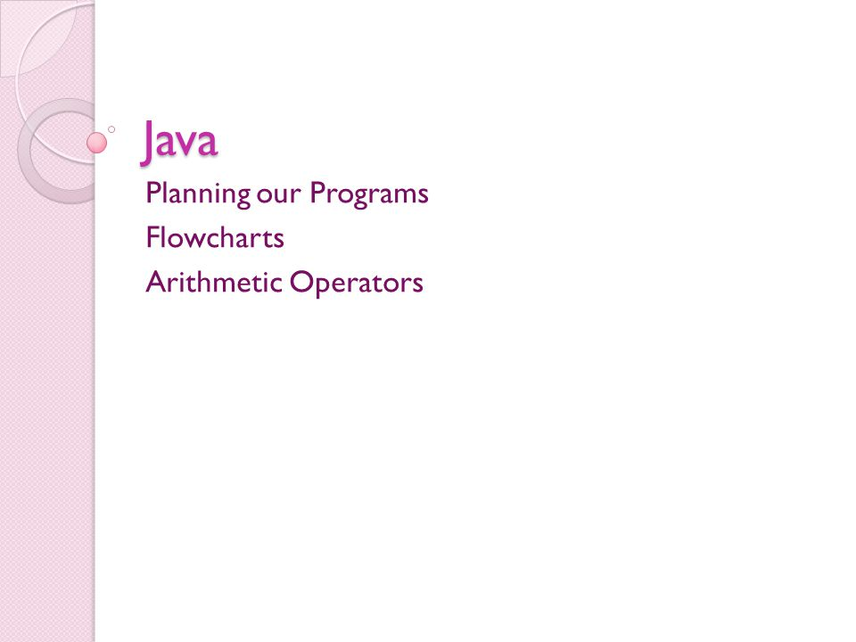 Java Planning our Programs Flowcharts Arithmetic Operators
