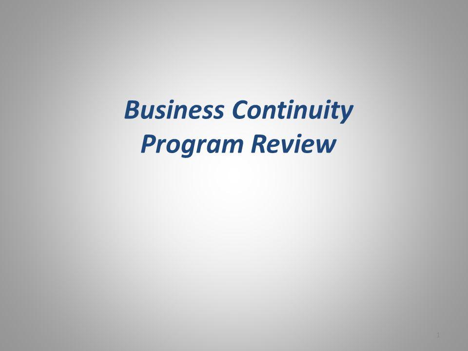 Business Continuity Program Review 1