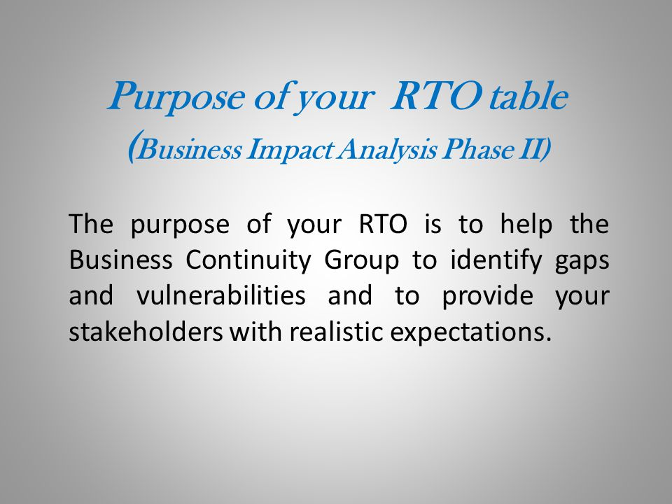 Defining RTOs The RTO is your Recovery Time Objective.