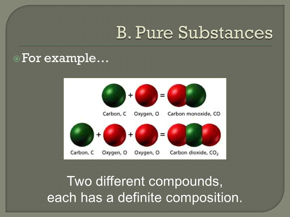  For example… Two different compounds, each has a definite composition.