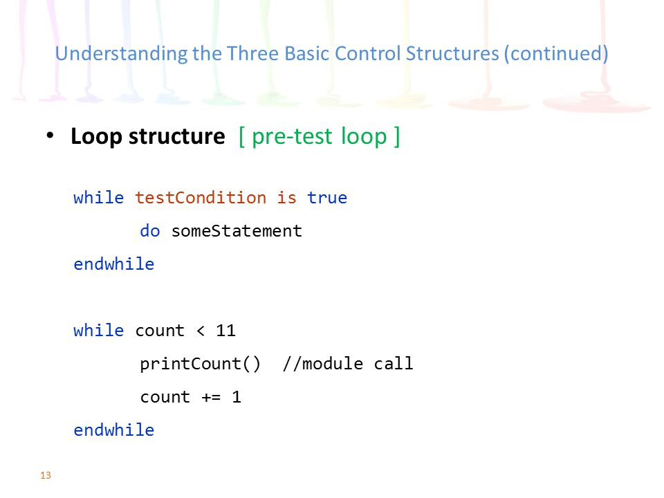 13 Understanding the Three Basic Control Structures (continued) Loop structure [ pre-test loop ] while testCondition is true do someStatement endwhile