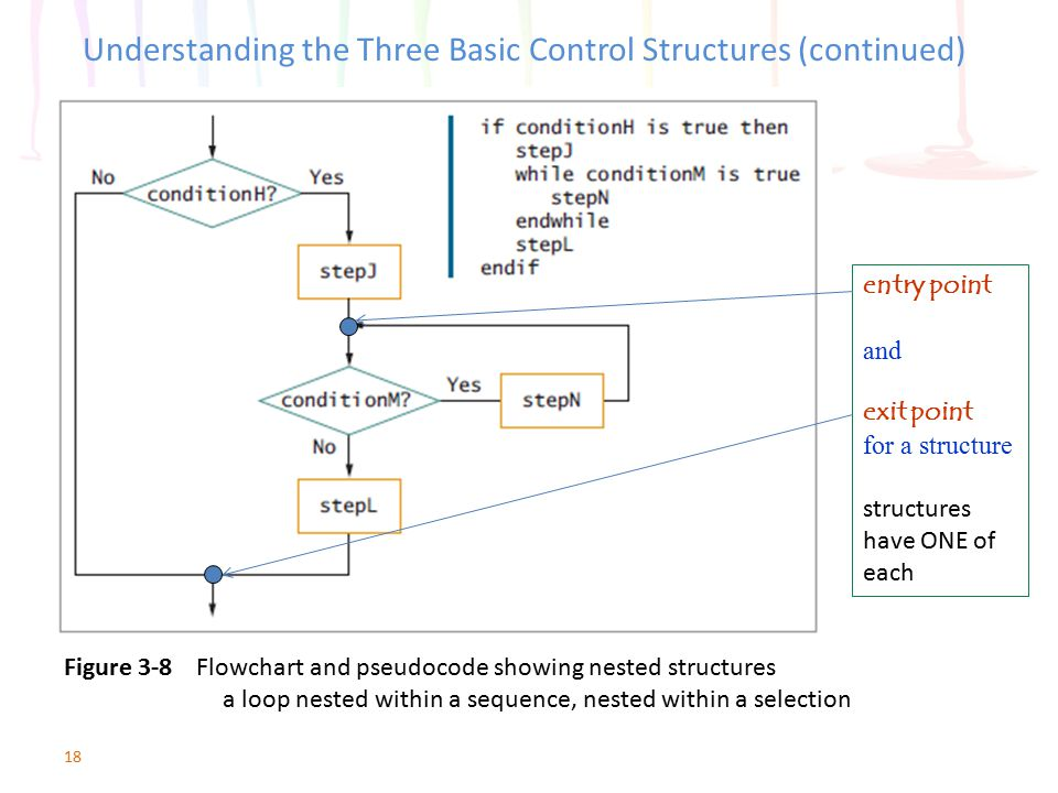 18 Understanding the Three Basic Control Structures (continued) Figure 3-8 Flowchart and pseudocode showing nested structures a loop nested within a s