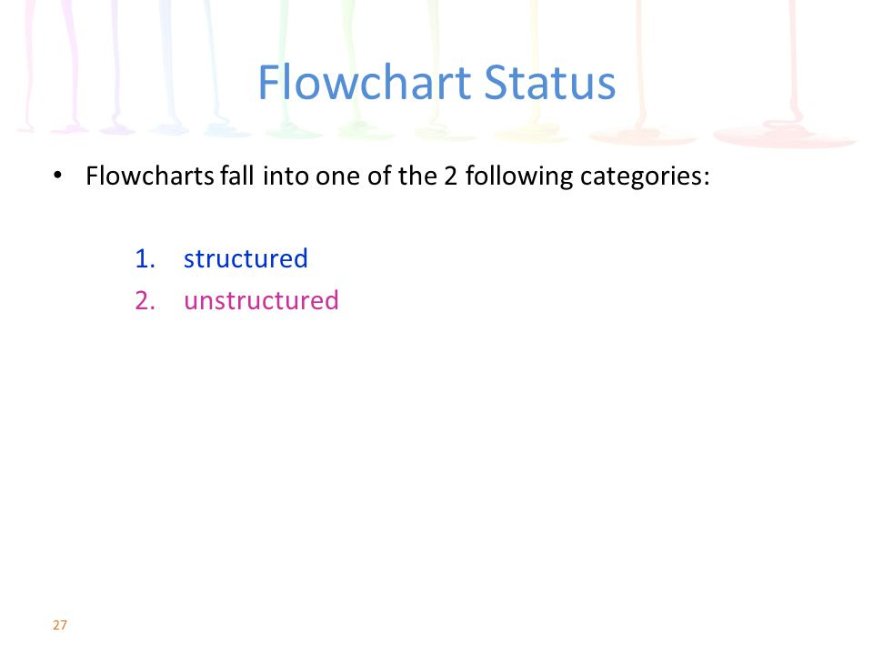Flowchart Status Flowcharts fall into one of the 2 following categories: 1.structured 2.unstructured 27