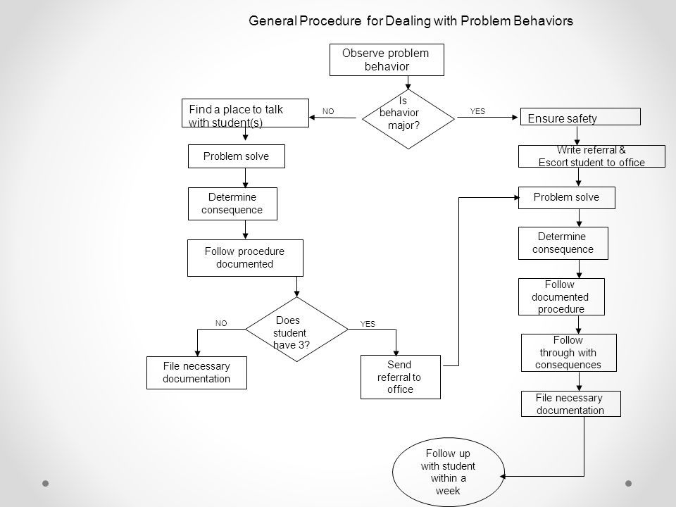 General Procedure for Dealing with Problem Behaviors Observe problem behavior Problem solve Determine consequence Follow procedure documented File nec