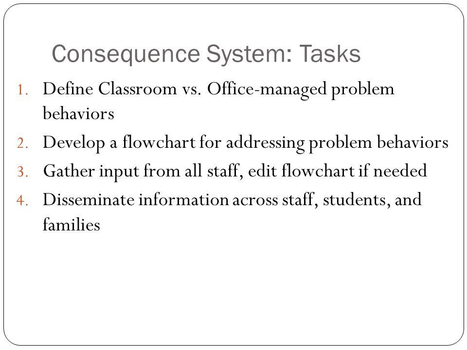 Consequence System: Tasks 1. Define Classroom vs. Office-managed problem behaviors 2. Develop a flowchart for addressing problem behaviors 3. Gather i