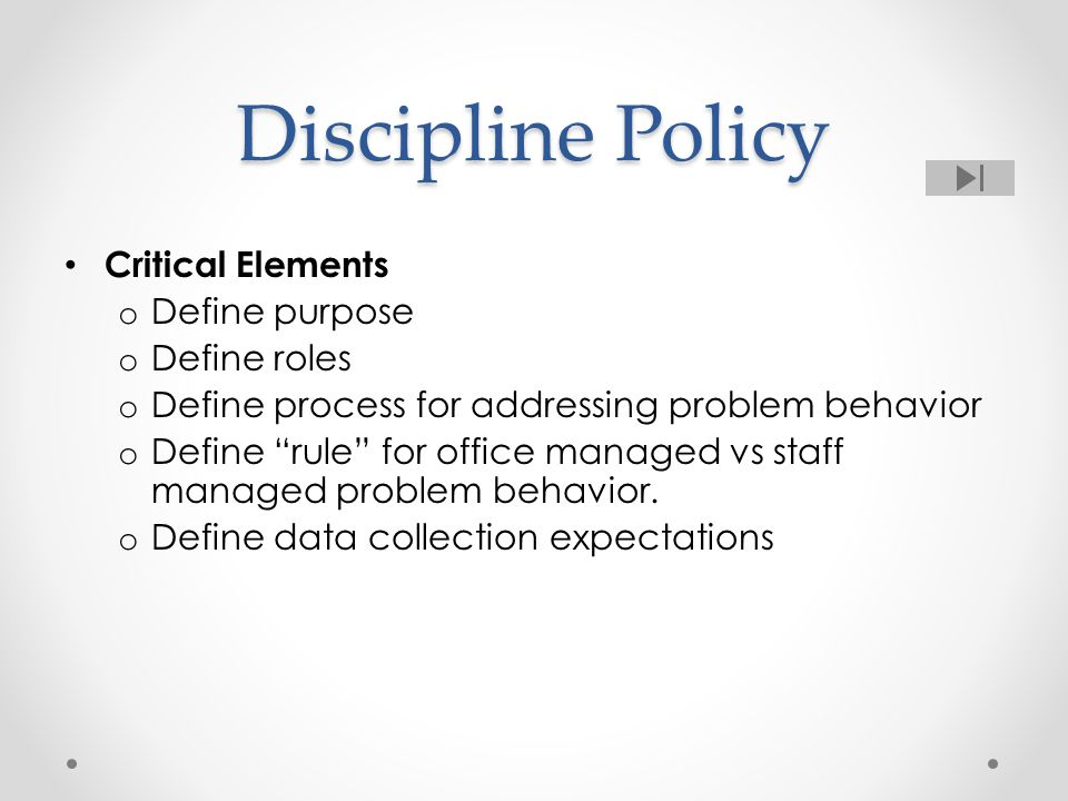 Common Guidelines for minor versus major Teachers have the authority to manage problem behavior in class (or with a partner) Detention, In-school suspension Think-time Time out (define Time out) Use an office referral if a problem behavior (a) interferes with on-going education of others, (b) threatens safety, or (c) is of a severity requiring more extended intervention (e.g.