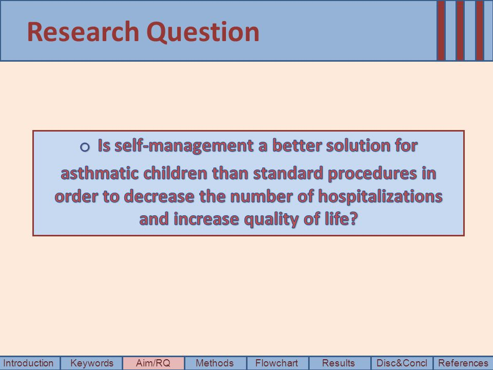 Research Question IntroductionKeywordsAim/RQMethods Disc&Concl ResultsFlowchartReferences