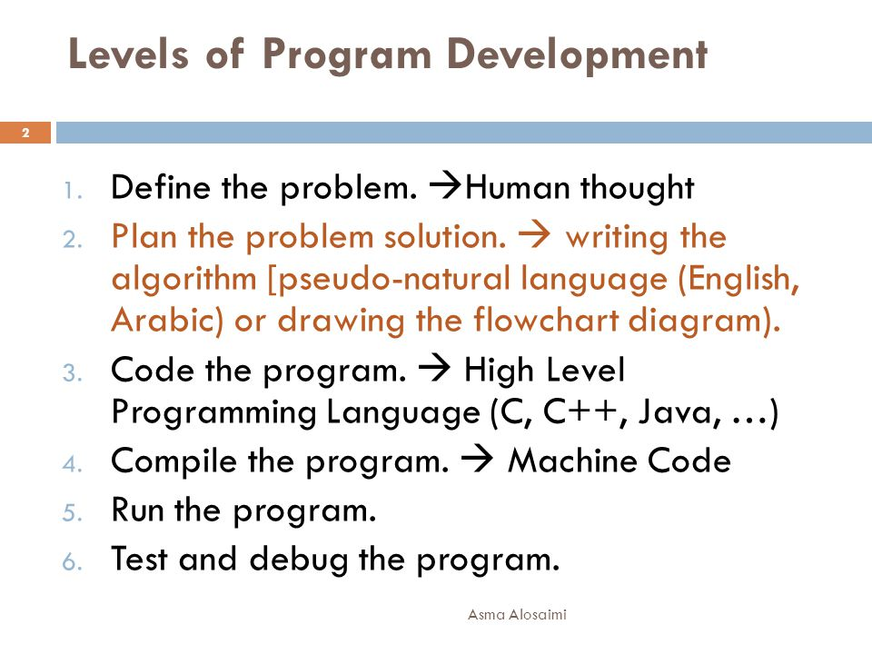 Levels of Program Development Asma Alosaimi 2 1. Define the problem.  Human thought 2. Plan the problem solution.  writing the algorithm [pseudo-nat