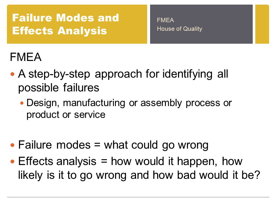 Failure Modes and Effects Analysis FMEA A step-by-step approach for identifying all possible failures Design, manufacturing or assembly process or product or service Failure modes = what could go wrong Effects analysis = how would it happen, how likely is it to go wrong and how bad would it be.