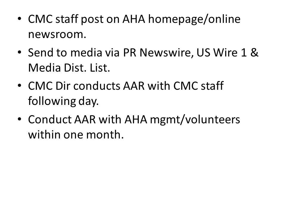CMC staff post on AHA homepage/online newsroom.