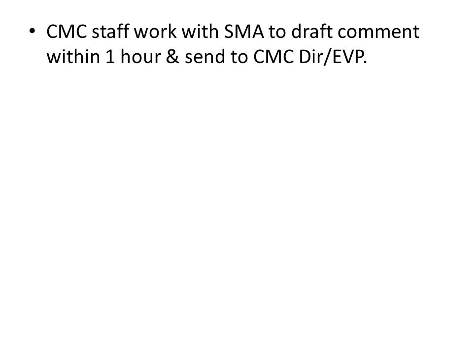 CMC Dir reviews comment & sends to Com EVP, who immediately reviews/approves.