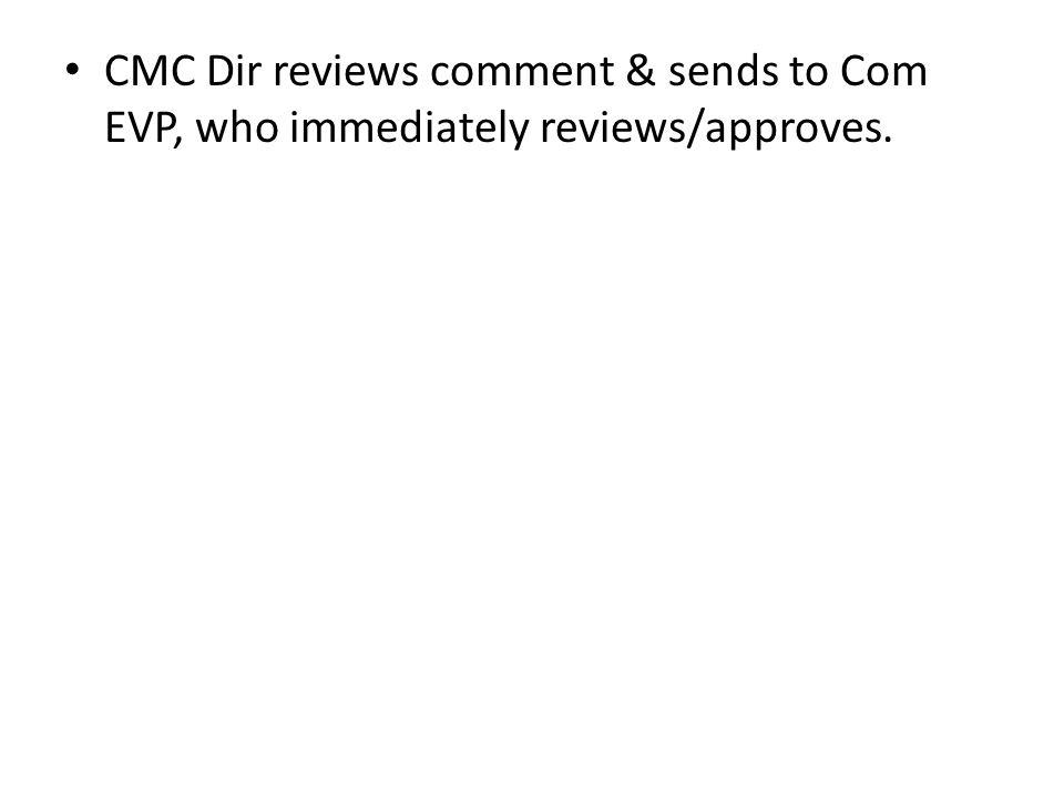 CMC Dir reviews comment & sends to Com EVP, who immediately reviews/approves.