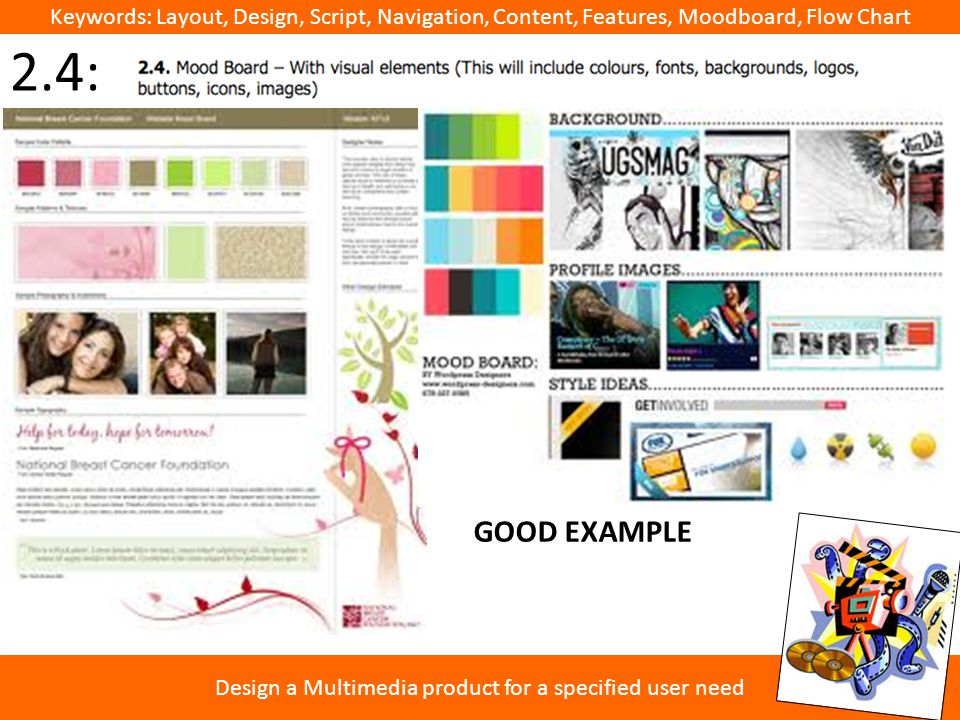 Keywords: Layout, Design, Script, Navigation, Content, Features, Moodboard, Flow Chart Design a Multimedia product for a specified user need 2.4: GOOD EXAMPLE