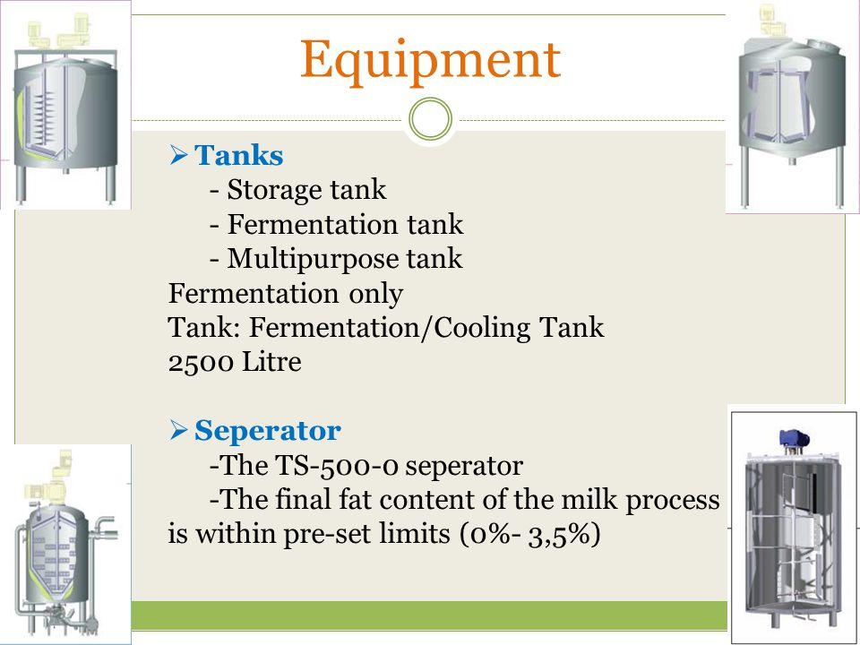 Equipment  Tanks - Storage tank - Fermentation tank - Multipurpose tank Fermentation only Tank: Fermentation/Cooling Tank 2500 Litre  Seperator -The