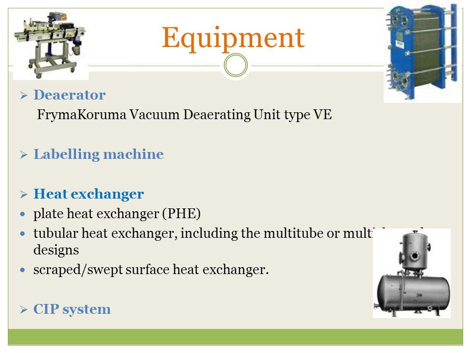 Equipment  Deaerator FrymaKoruma Vacuum Deaerating Unit type VE  Labelling machine  Heat exchanger plate heat exchanger (PHE) tubular heat exchange