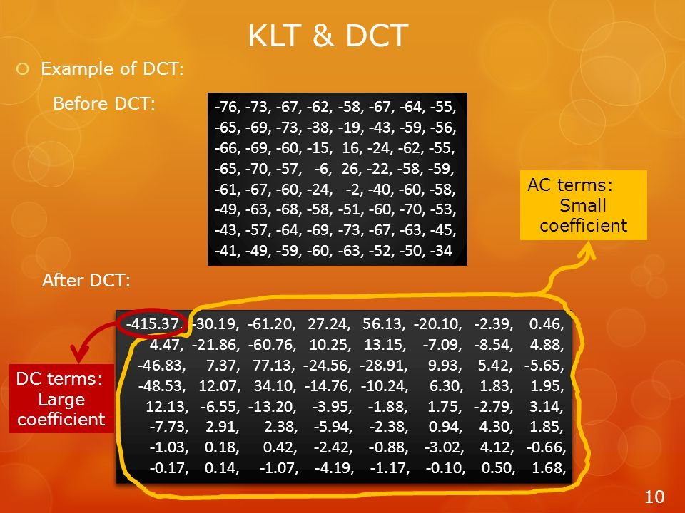  Example of DCT: 10 KLT & DCT -76, -73, -67, -62, -58, -67, -64, -55, -65, -69, -73, -38, -19, -43, -59, -56, -66, -69, -60, -15, 16, -24, -62, -55, -65, -70, -57, -6, 26, -22, -58, -59, -61, -67, -60, -24, -2, -40, -60, -58, -49, -63, -68, -58, -51, -60, -70, -53, -43, -57, -64, -69, -73, -67, -63, -45, -41, -49, -59, -60, -63, -52, -50, -34 Before DCT: After DCT: -415.37, -30.19, -61.20, 27.24, 56.13, -20.10, -2.39, 0.46, 4.47, -21.86, -60.76, 10.25, 13.15, -7.09, -8.54, 4.88, -46.83, 7.37, 77.13, -24.56, -28.91, 9.93, 5.42, -5.65, -48.53, 12.07, 34.10, -14.76, -10.24, 6.30, 1.83, 1.95, 12.13, -6.55, -13.20, -3.95, -1.88, 1.75, -2.79, 3.14, -7.73, 2.91, 2.38, -5.94, -2.38, 0.94, 4.30, 1.85, -1.03, 0.18, 0.42, -2.42, -0.88, -3.02, 4.12, -0.66, -0.17, 0.14, -1.07, -4.19, -1.17, -0.10, 0.50, 1.68, -415.37, -30.19, -61.20, 27.24, 56.13, -20.10, -2.39, 0.46, 4.47, -21.86, -60.76, 10.25, 13.15, -7.09, -8.54, 4.88, -46.83, 7.37, 77.13, -24.56, -28.91, 9.93, 5.42, -5.65, -48.53, 12.07, 34.10, -14.76, -10.24, 6.30, 1.83, 1.95, 12.13, -6.55, -13.20, -3.95, -1.88, 1.75, -2.79, 3.14, -7.73, 2.91, 2.38, -5.94, -2.38, 0.94, 4.30, 1.85, -1.03, 0.18, 0.42, -2.42, -0.88, -3.02, 4.12, -0.66, -0.17, 0.14, -1.07, -4.19, -1.17, -0.10, 0.50, 1.68, AC terms: Small coefficient DC terms: Large coefficient