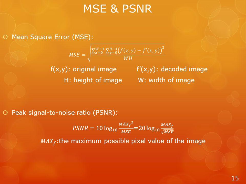 MSE & PSNR 15