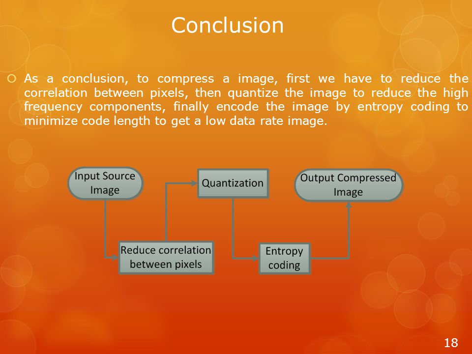Conclusion  As a conclusion, to compress a image, first we have to reduce the correlation between pixels, then quantize the image to reduce the high