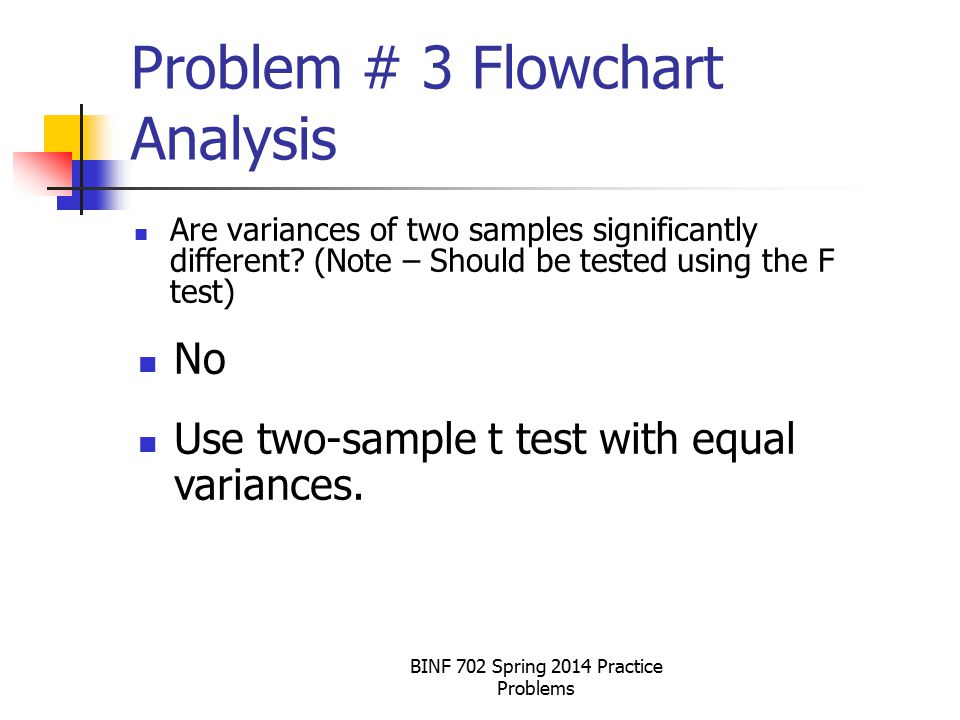 BINF 702 Spring 2014 Practice Problems Problem # 3 Flowchart Analysis Are variances of two samples significantly different.
