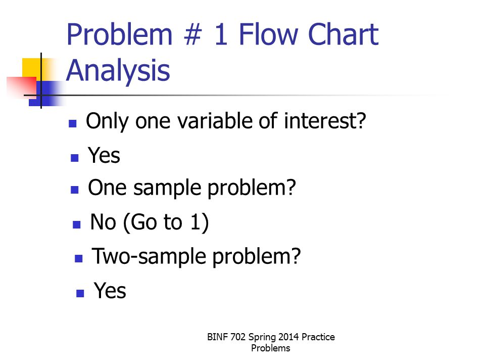 Problem # 1 Flow Chart Analysis Only one variable of interest.